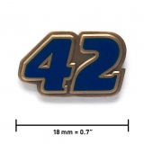 """42"" lapel pin, antique gold, translucent blue"