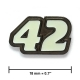 """42"" lapel pin, black nickel, glows in the dark"