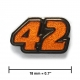 """42"" lapel pin, black nickel, translucent orange"