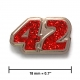 """42"" lapel pin, nickel, glitter red"
