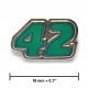 """42"" lapel pin, nickel, translucent turquoise"