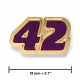 """42"" lapel pin, gold, purple"
