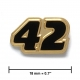 """42"" lapel pin, gold, black"
